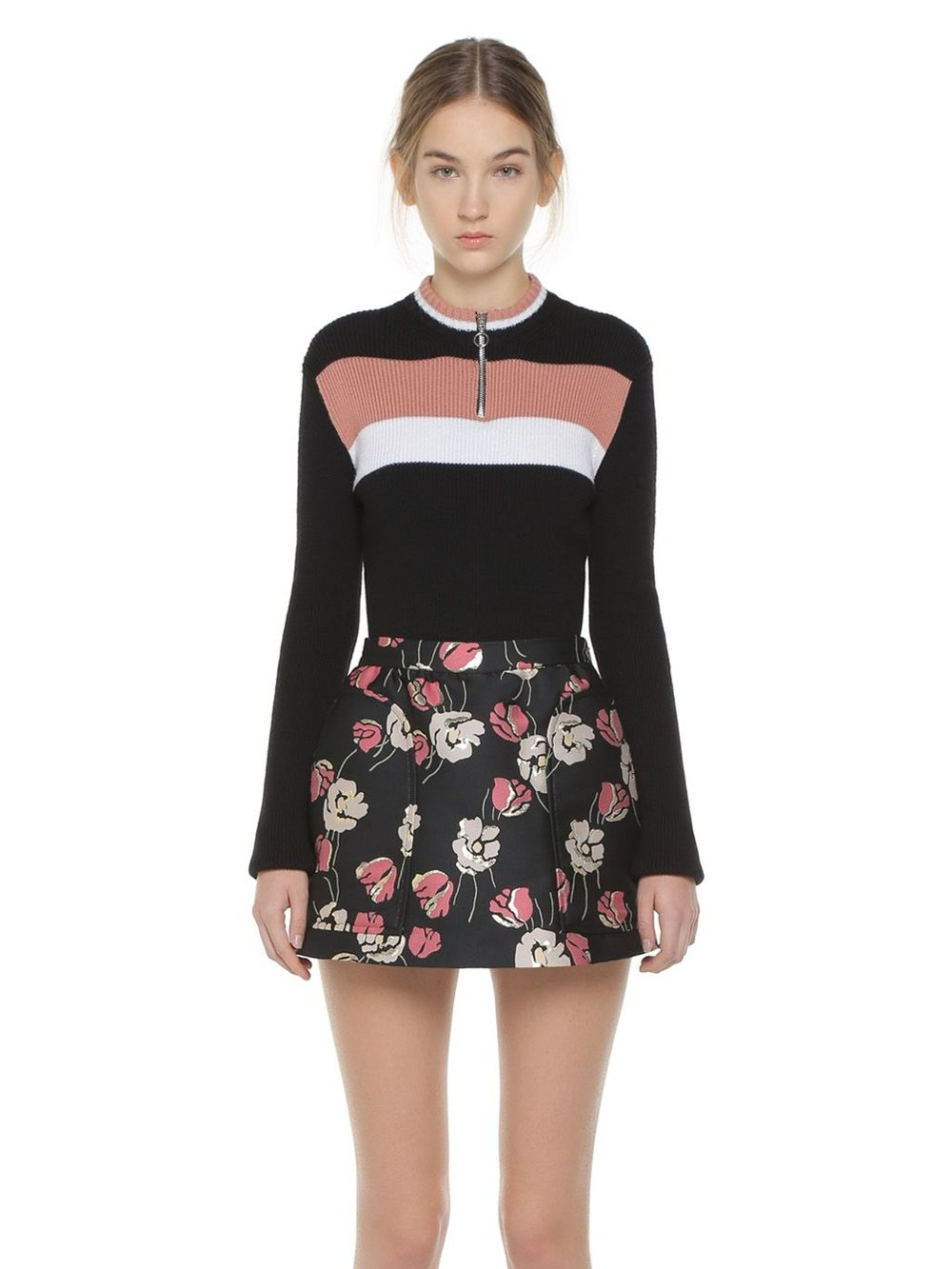 Red Valentino - Poppy Flower Lurex Jacquard SkortDetailed with a lightly gathered frontal panel recalling the shape of a skirt.