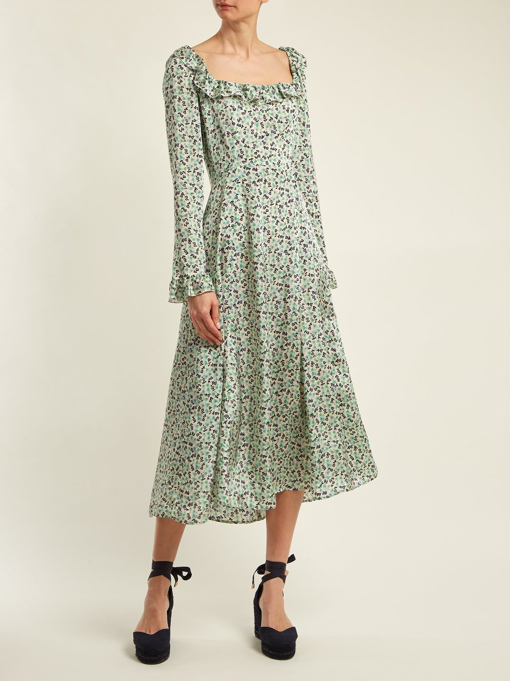 Alexachung - Floral-Print Square-Neck DressCombines delicate florals and a ruffled trim to charming effect in this midi-length emerald-green, blue and cream dress.