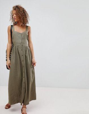 Asos Linen Button Through Dress