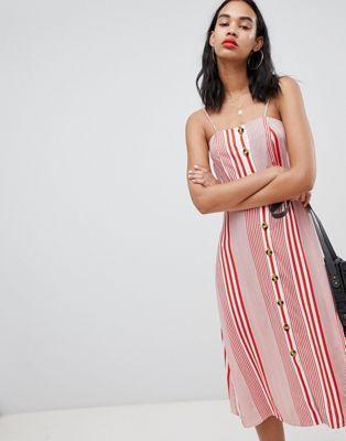 Boohoo Linen Stripe Dress