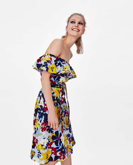 Zara Floral Bardot Dress