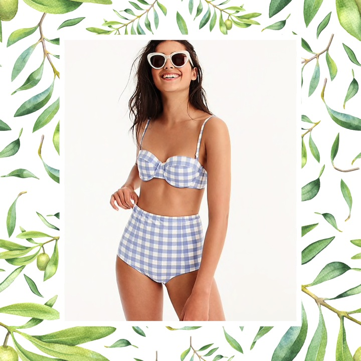 J.Crew - Demi Underwire Bikini in Oversized Matte GinghamBring a sweet, classic style to the beach with a gingham bikini™. The blue-and-white bikini showcases a fun checkerboard print that makes for a playful and chic look — perfect for a fun day in the sun.