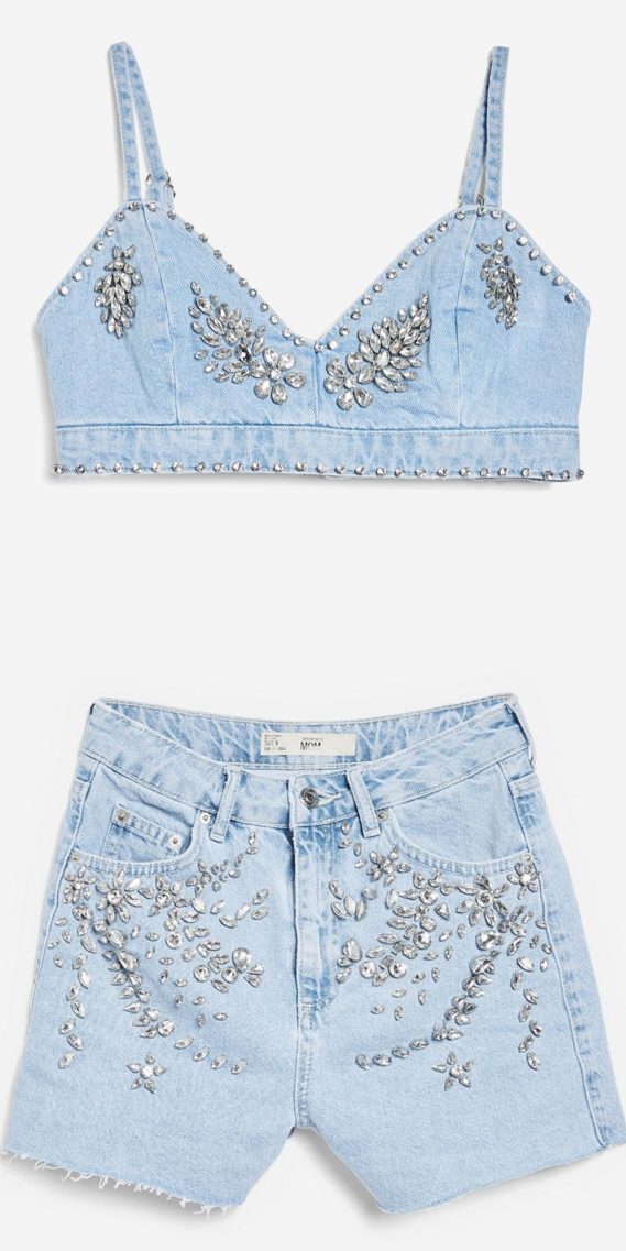 Topshop - Crystal Denim Shorts & Bralet
