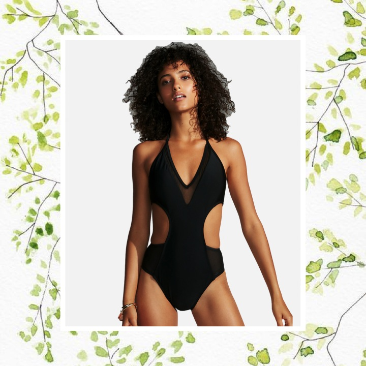 Express - Mesh Ultra Cut-Out One-Piece SwimsuitSoak up the sun in this swimsuit that turns up the heat with mesh panels and a sext cut-out front. Secure the halter straps and hit the beach in style.