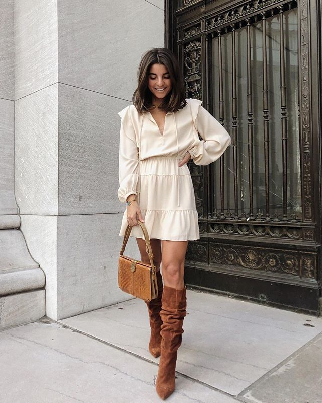"A summer piece styled for winter days! Pair this lovely ruffle dress with a pair of knockout boots to lend your look instant attitude! @vivianeaudi is 5'2"" and 100 lbs Dress: Aritzia  XS Boots: Steve Madden  US5.5 #petiteAMIE #petiteAMIEstyle #petite #petites #petitefashion #lookbook #ootd #instafashion #instastyle #outfitideas #fashiondiaries #fashionblogger #style #fallstyle #suedeboots #ruffledress"