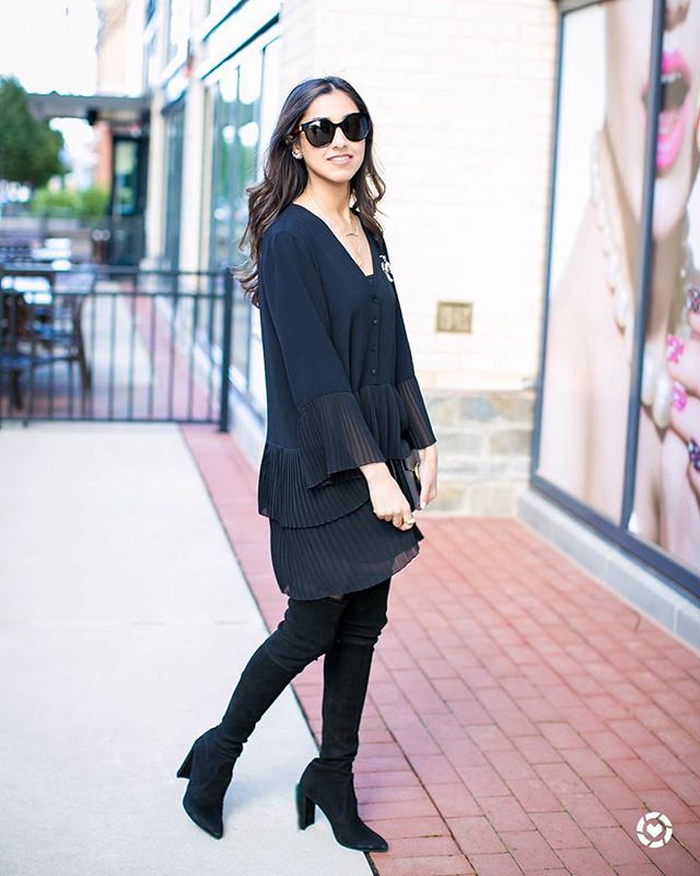 "Just twirling around! We love how perfect this all black look is - the key is to mix textures and tones!❤️ @stylexnat is 5'4"" and 110 lbs Dress: Zara Boots: Stuart Weitzman #petiteAMIE #petiteAMIEstyle #petite #petites #petitefashion #lookbook #ootd #instafashion #instastyle #outfitideas #fashiondiaries #fashionblogger #style #fallstyle #overthekneeboots #LBD"