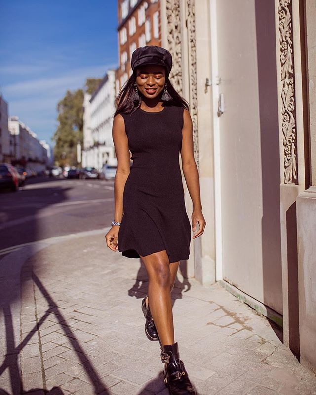 "Make a feminine little black dress work for the daytime by pairing it with combat boots. It makes the look way more casual. Extra points for a baker boy hat like this one! @eniswardrobe is 5'2"" and 110 lbs Dress: All Saints  XS  Booties: Balenciaga  US4 Hat: Zara #petiteAMIE #petiteAMIEstyle #petite #petites #petitefashion #lookbook #ootd #instafashion #instastyle #outfitideas #fashiondiaries #fashionblogger #style #fallstyle #combatboots #littleblackdress #parisianstyle"