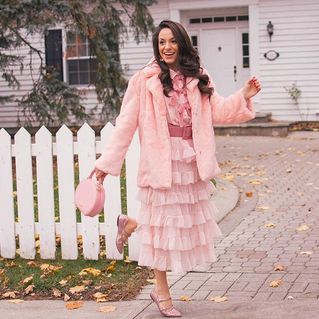 "Bows, glitter, faux fur, and tulle. Can you ask for a more perfect pink look for this holiday season? @the_pinkbrunette is 5'3"" and 125 lbs Jacket: Chic Wish  Small Blouse: Halogen  Small Skirt: H&M Purse: Aldo Flats: Halogen  US7.5 #petiteAMIE #petiteAMIEstyle #petite #petites #petitefashion #lookbook #ootd #instafashion #instastyle #outfitideas #fashiondiaries #fashionblogger #style #winterstyle #holidaylook #holidayseason #partylook"