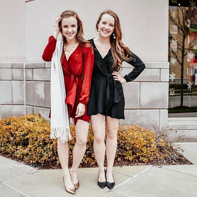 "The party season is on, festive dresses ready! Double the gorgeous in this knotted V-neck elastic waist dress in both red and black!🖤❤️ @two_scoops_of_style are 5'2"" and 110 lbs Dress: Express  XXS Heels: Adrienne Vittadini  US6.5 #petiteAMIE #petiteAMIEstyle #petite #petites #petitefashion #lookbook #ootd #instafashion #instastyle #outfitideas #fashiondiaries #fashionblogger #holidayseason #holidaydress #winterstyle"