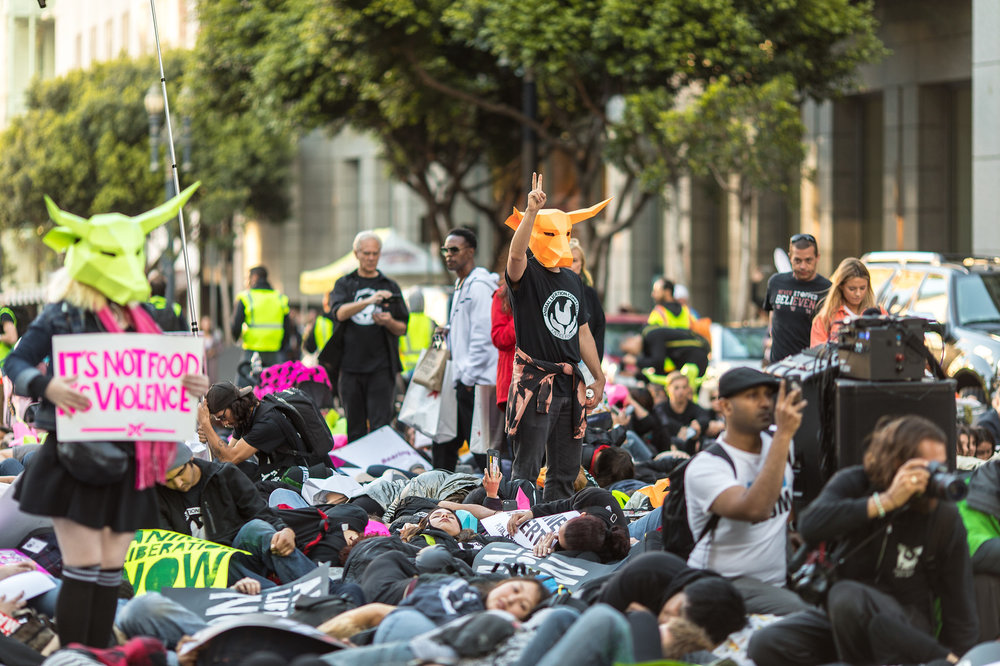 """Activists stage a """"die-in"""" in one of San Francisco's busiest intersections during last year's Animal Liberation March."""