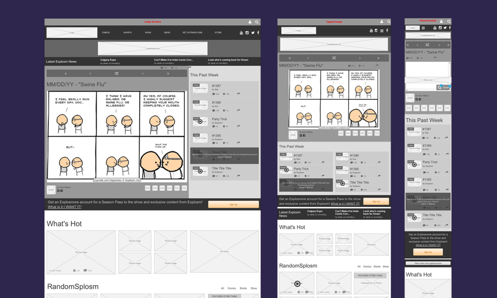 Responsive homepage concept wireframes pictured