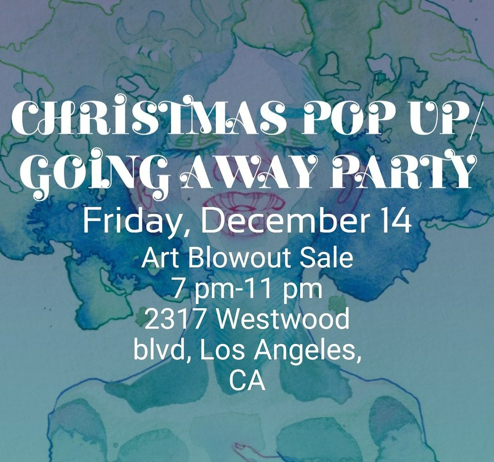 I'll be moving from Los Angeles to Dallas in a month and would love to celebrate with all of the wonderful people that I've met along my journey here in LA before I leave. If you've seen my work grow throughout the years and missed a chance to purchase them, now's the time. I'll have pieces from each season available for you. Purchase $10 or more to enter a raffle for an original at the end of the night! See you there.