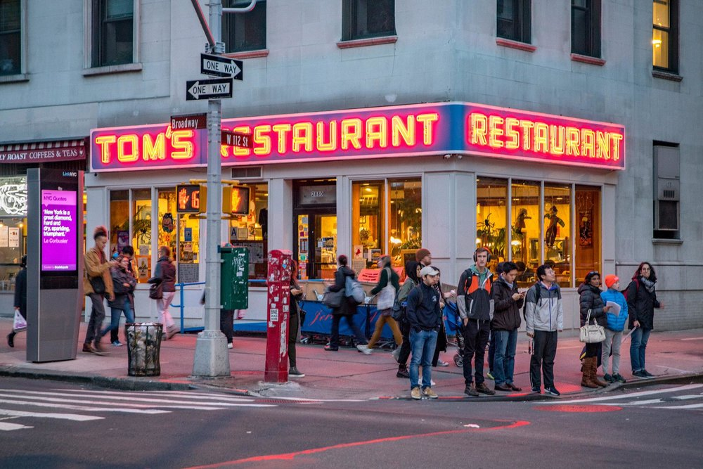 """Tom's Restaurant, on Broadway at West 112th Street, where Jerry Seinfeld and pals supposedly often ate on """"Seinfeld.""""CreditTony Cenicola/The New York Times"""