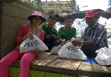 Bringing food for those affected by the flood