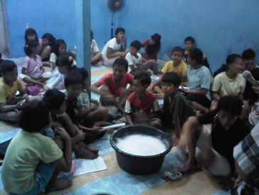 Teaching the orphanage of Asidiqiah (Jakarta) how to make soap and detergent for them to use and sell
