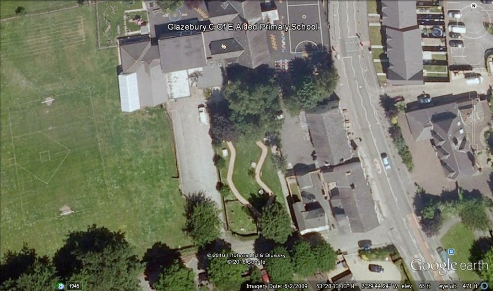 A google earth view of the site