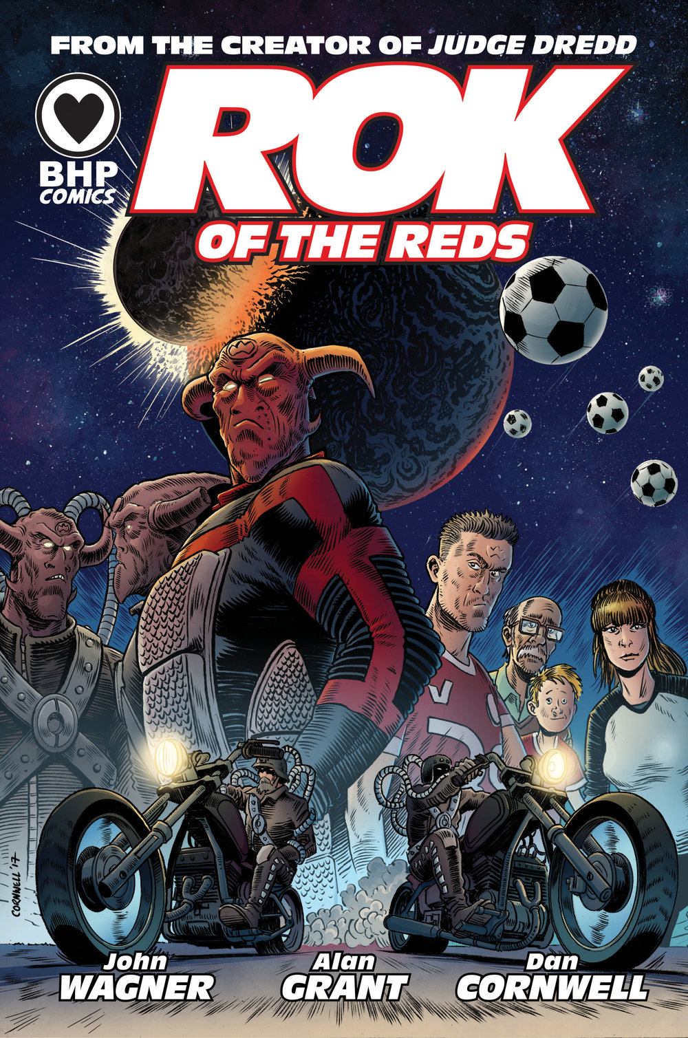 Rok of the Reds  - BHP Comics are thrilled to announce that Rok of the Reds, the sci-fi adventure written by comics legends John Wagner and Alan Grant with art by Dan Cornwell, will be collected into a new trade paperback edition. The trade will bring together all six single issues of the mini-series plus never before seen bonus material.  The Rok of the Reds trade is available for preorder here and will be released on the 16th of April 2018! 'A blistering opener and sustained momentum throughout has made Rok of the Reds a surprise package in pretty much every way'- Comics Anonymous'A black comedy about revenge, redemption and the 'beautiful game', Rok of the Reds is one of the best independent comics out there right now.'- Down the Tubes