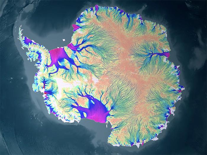 南极洲冰川流速。(美国航天局NASA哥达德太空飞行中心科学可视化工作室提供)