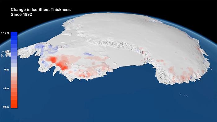 南极洲西部的冰川变薄最为剧烈。(欧洲航天局/星球视野)