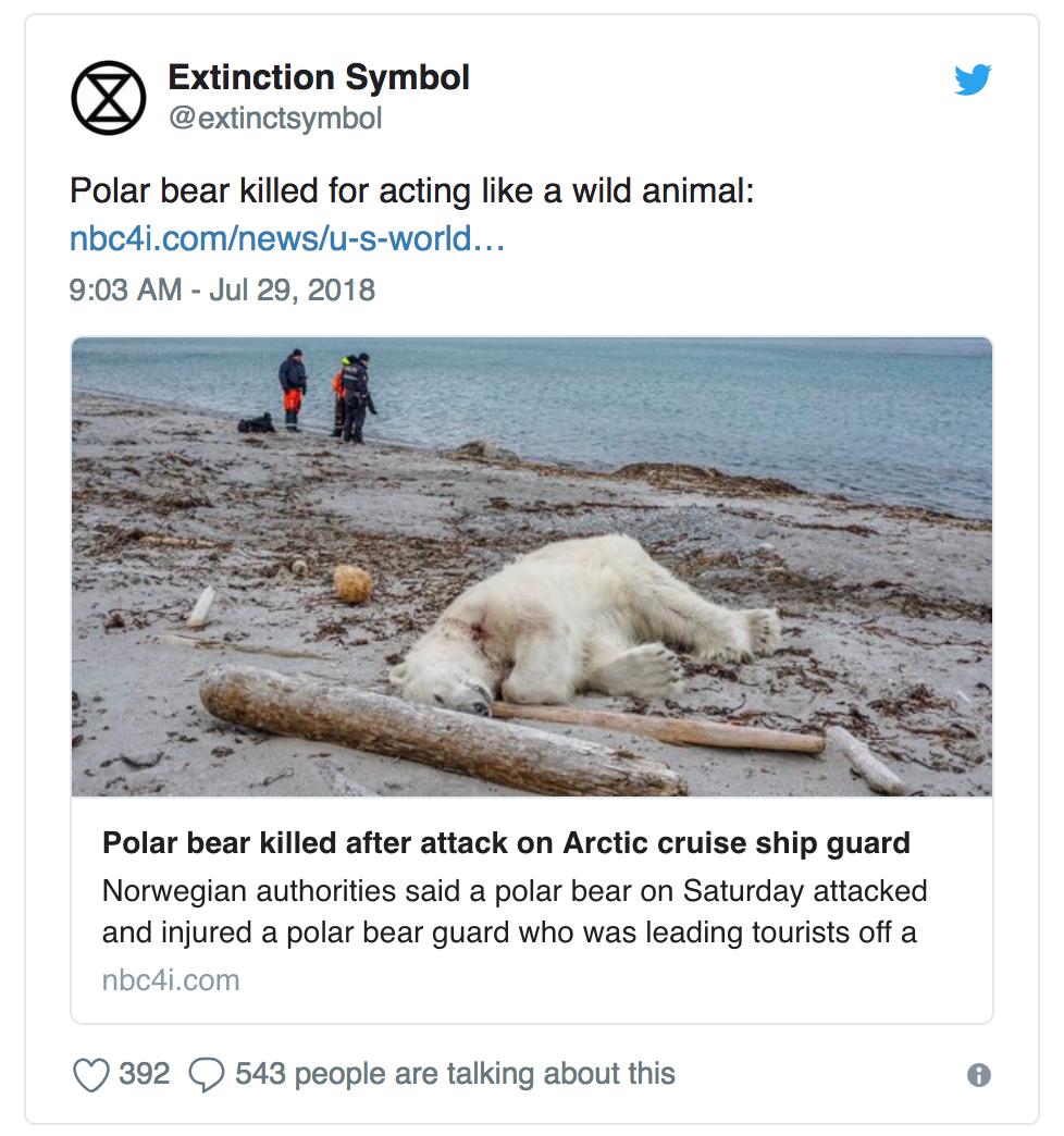 Extinction Symbol的推文翻译:【北极熊因为拥有野生动物的习性而被杀。】