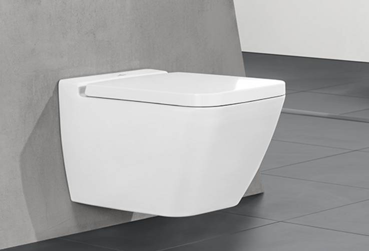 Toilet - Linear and puristic design of the ceramic and toilet seat. Perfect hygiene and easy cleaning thanks to DirectFlush and CeramicPlusSimple assembly using the SupraFix 2.0 concealed attachment system.A slim 4 cm toilet seat with SoftClosing feature and a minimal gap between the toilet and the seat.