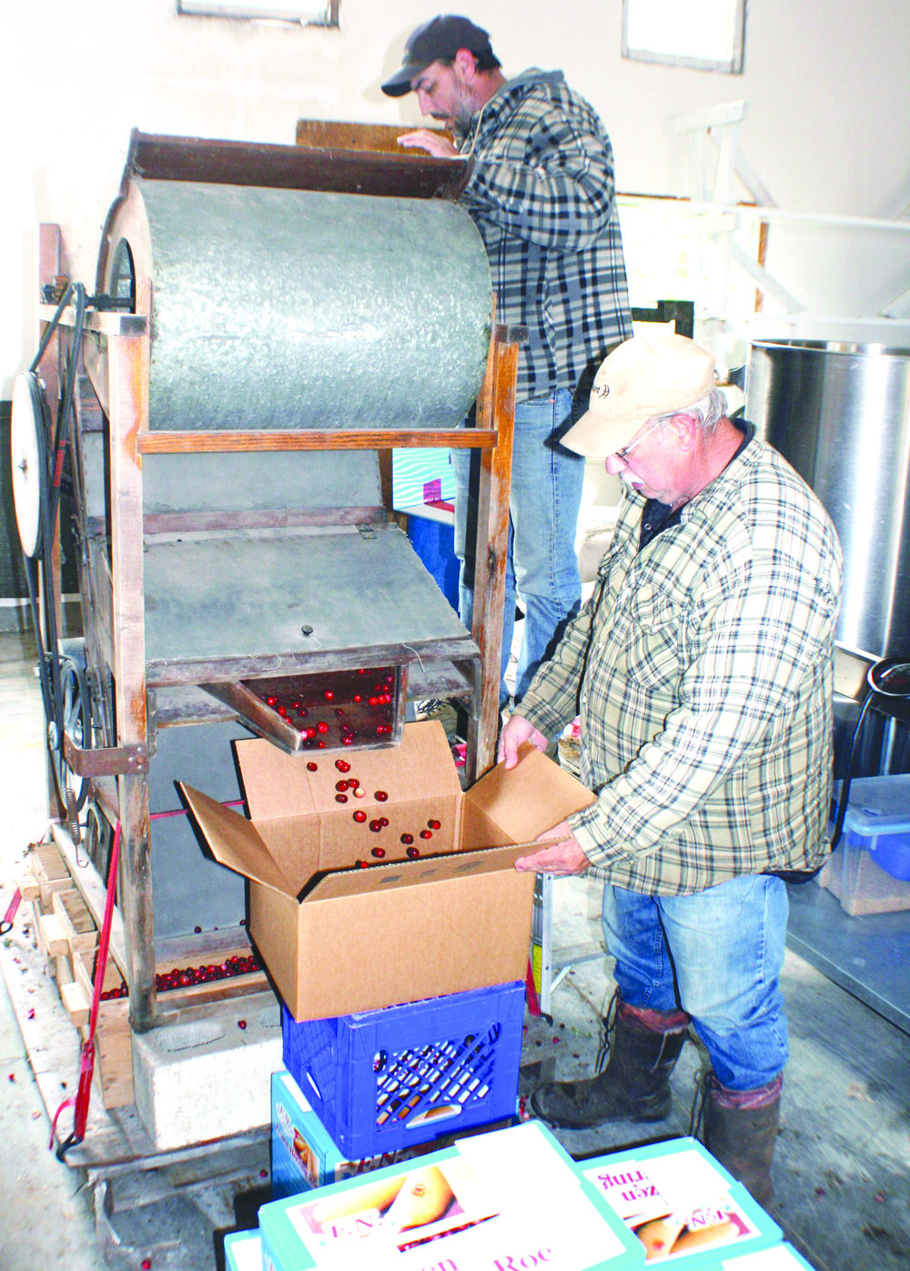 "The Goodlands use a vintage wooden machine called a bouncer to sort the cranberries after the leaves are blown away. ""The good berries are solid and they bounce over a little lip,"" said Melvin Goodland. ""The soft berries fall off the back and go down into bins down at the bottom."""