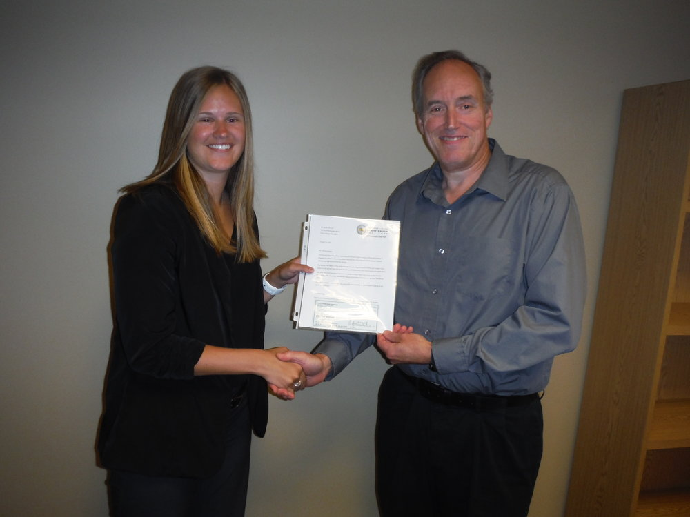 Evan Rowles (ICRI Pittsburgh Past President) presents Abby Severyn with the first annual ICRI Pittsburgh Scholarship