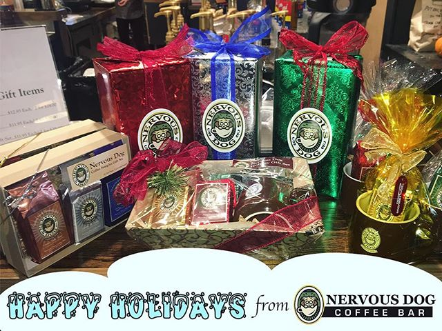 "Nothing says ""Who's a good boy?"" like a few scritches on the head or a Holiday gift set from your local Nervous Dog Coffee Bar. 🎁  These are sure to fly off the shelves again this year, so get them while supplies last."