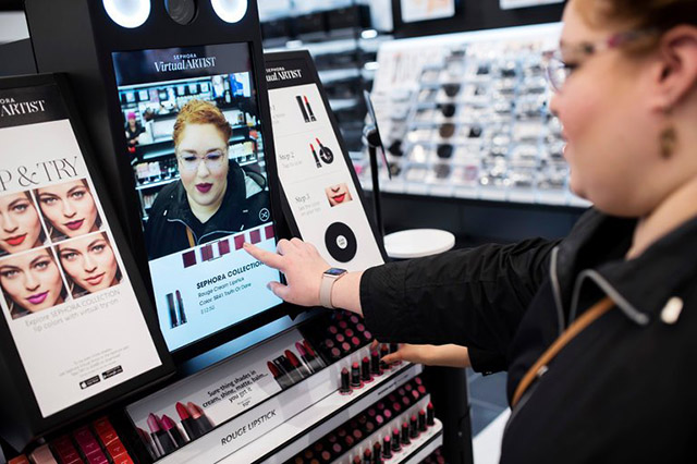 Sephora Tap & Try - Augmented reality display for virtual makeup try on