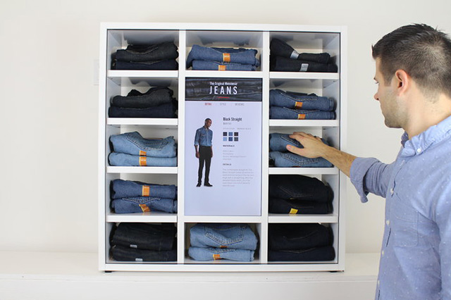 Denim - Merchandized multi-shelving display for apparel marketing
