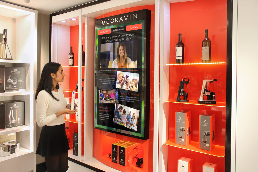 Coravin - Large, custom interactive display for the beverage and home goods industry