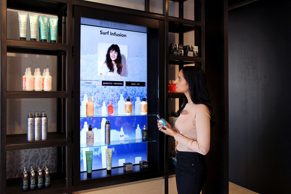 Bumble & Bumble - Interactive hair care and merchandizing display for salons
