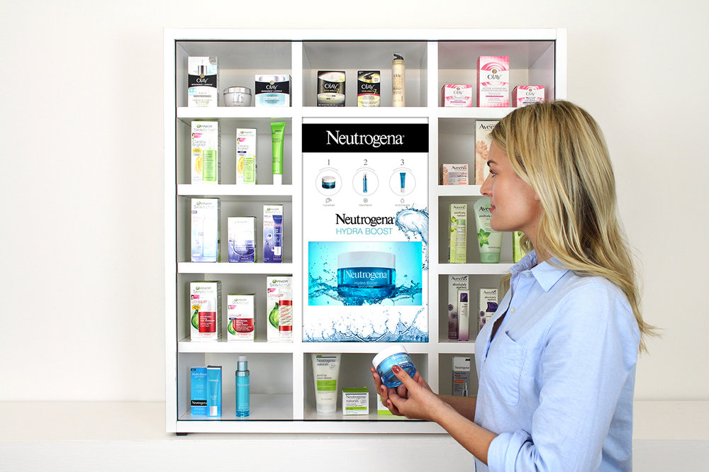 Skin Care - Cosmetics and CPG marketing shelving system with videos, reviews and cross-sell of product family groupings.