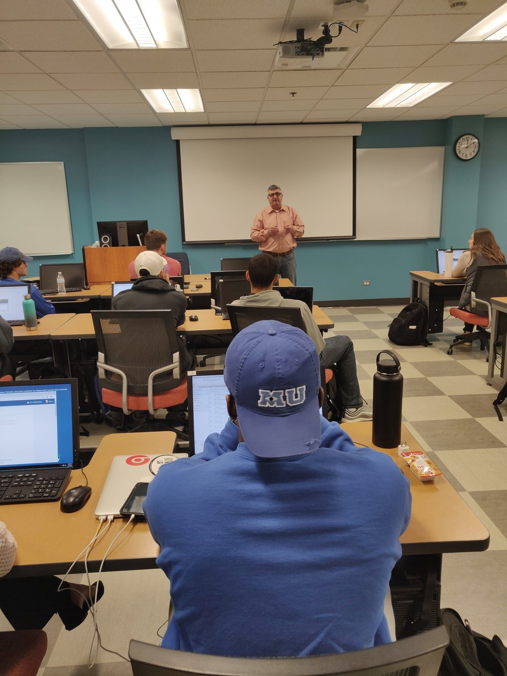 Speaking to a communications class at Aurora University about the importance of storytelling in business.
