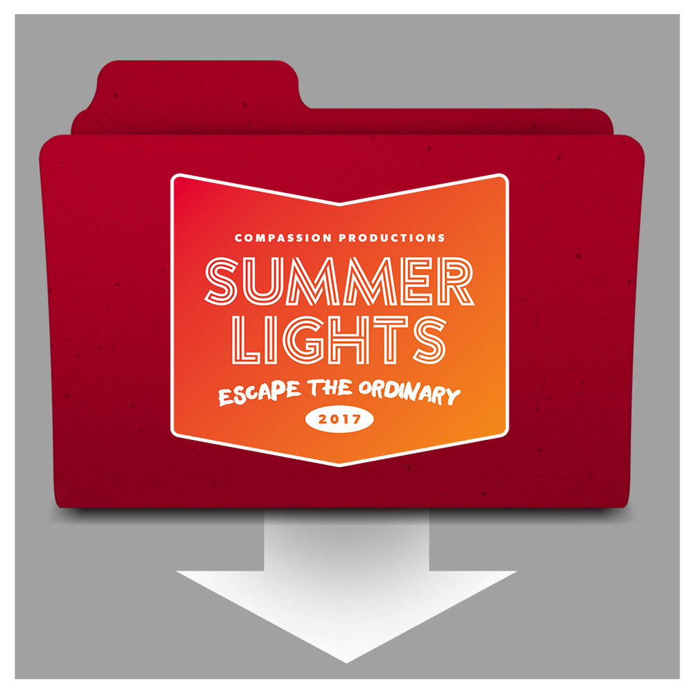 "Zipped ""Summer Lights"" file contents:  •Trailer 1 (no live footage) •Trailer 2 (with live footage cut in) •Recap videos from several cities •Branded images from every city"