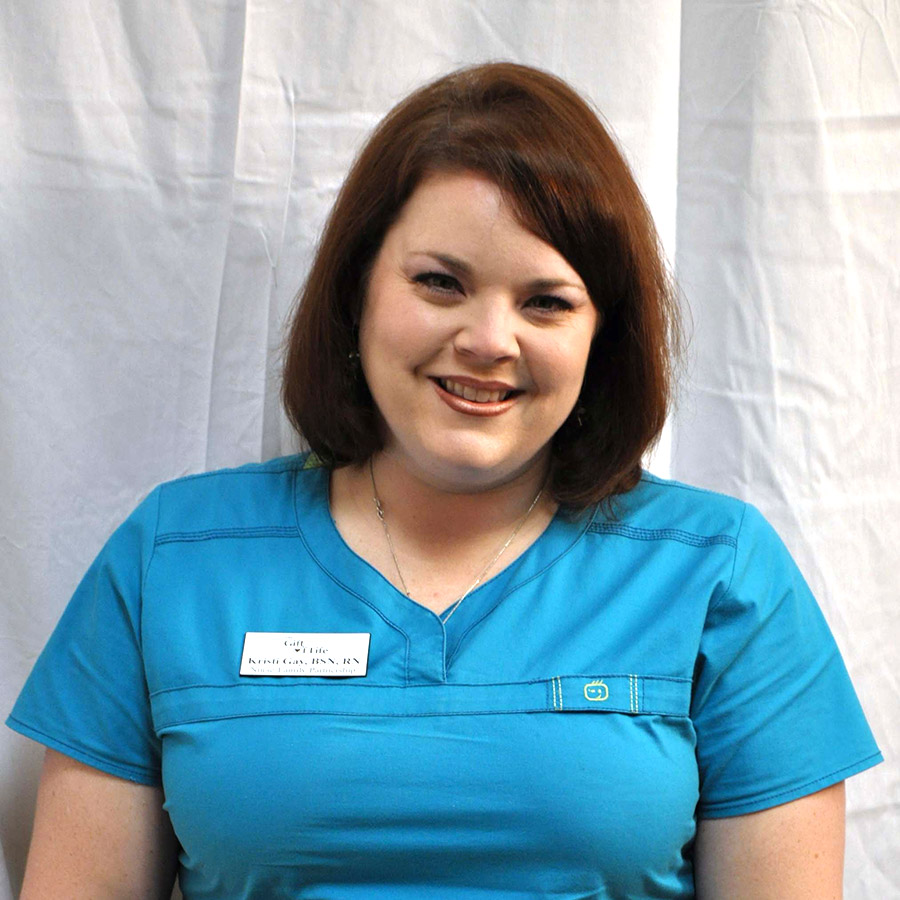 Kristi Gay, BSN, RNNurse Home Visitor (Nurse-Family Partnership) - Registered Nurse Kristi Gay has been employed with the Gift of Life Foundation for four years. She is a nurse home visitor with the Gift of Life's Nurse-Family Partnership Program. She has a bachelor of science in nursing.
