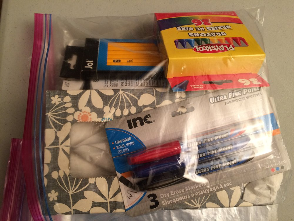 Ready-to-go school supplies bags - This is a sample school kit bag we put together in December so that the kids would have additional supplies to get them through the rest of the school year!