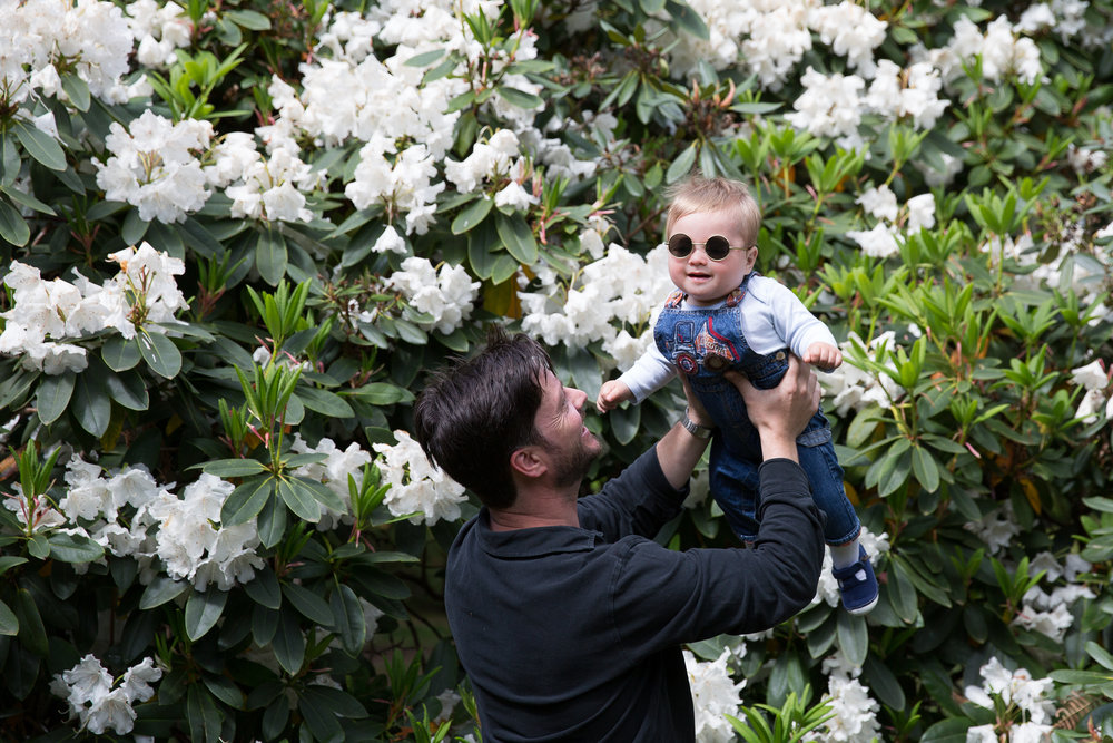 Dad and baby Isabella Plantation spring family photography shoot