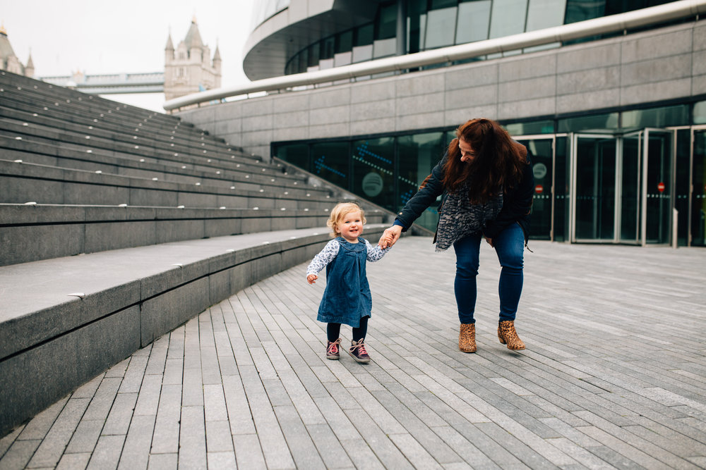 Mum and daughter by City Hall, London Toddler Photo Shoot