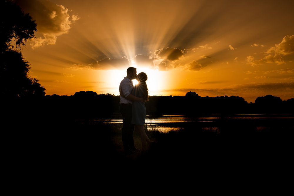 Couple kiss at sunset, Richmond Park