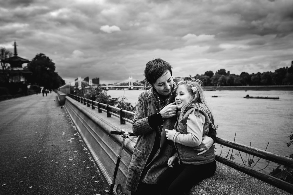 Dramatic skies, mother and daughter - Battersea Family Photographer