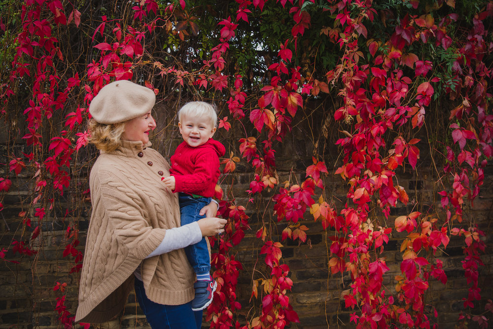 Mum and toddler Autumn colours