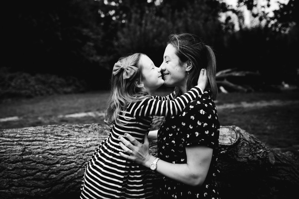 Mum and daughter kiss - London family photography