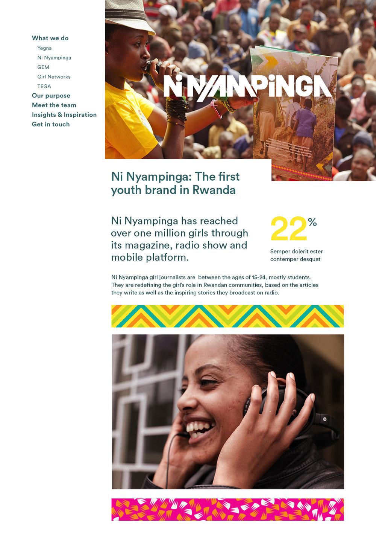 ↑ live site visual: NiNyampinga brand landing page [detail]