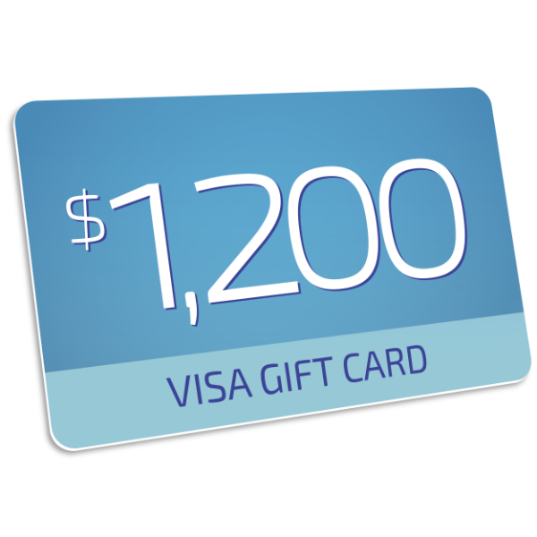 $1,200 Visa Prepaid card  - Visa Prepaid cards can be used anywhere - Visa cards are accepted, in store or online