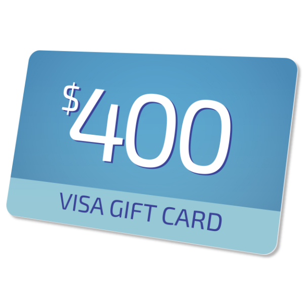 $400 Visa Prepaid Card  - Visa Prepaid cards can be used anywhere - Visa cards are accepted, in store or online.