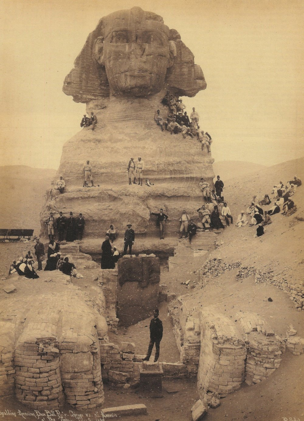 The All-Americas and Chicago White Stockings posed atop the Great Sphinx in 1889