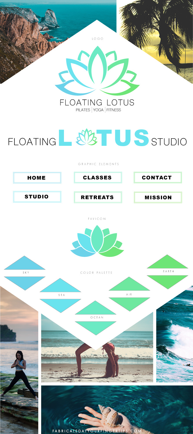 branding style board floating lotus studio