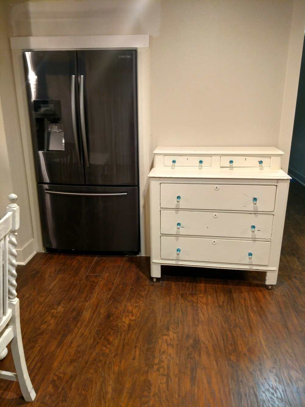 Refrigerator and Chest of Drawers