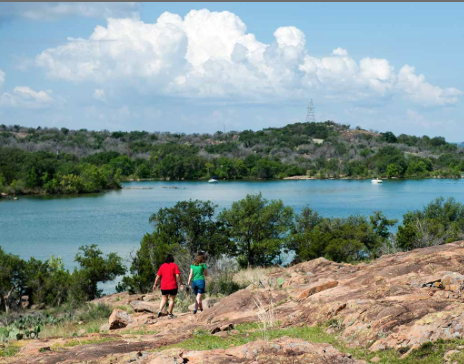 Inks Lake State Park - Inks Lake State Park is great for a day trip or a weekend getaway. Because the lake's level usually stays constant, you can play here year-round.On land, you can camp, backpack, geocache and observe nature. We have 7.5 miles of hiking trails through shady forests and across rocky hills. Hike Pecan Flats, a self-guided 3.3-mile trail that is perfect for the whole family, or stop by our bird blind. Rent our group picnic pavilion for your next family reunion.On the water, you can swim (no lifeguards on duty), boat, water ski, scuba dive and fish. We have set aside a large, no-wake zone for paddling.Rent paddle boats, canoes, one- to two-person kayaks, life vests and paddles at the park store.